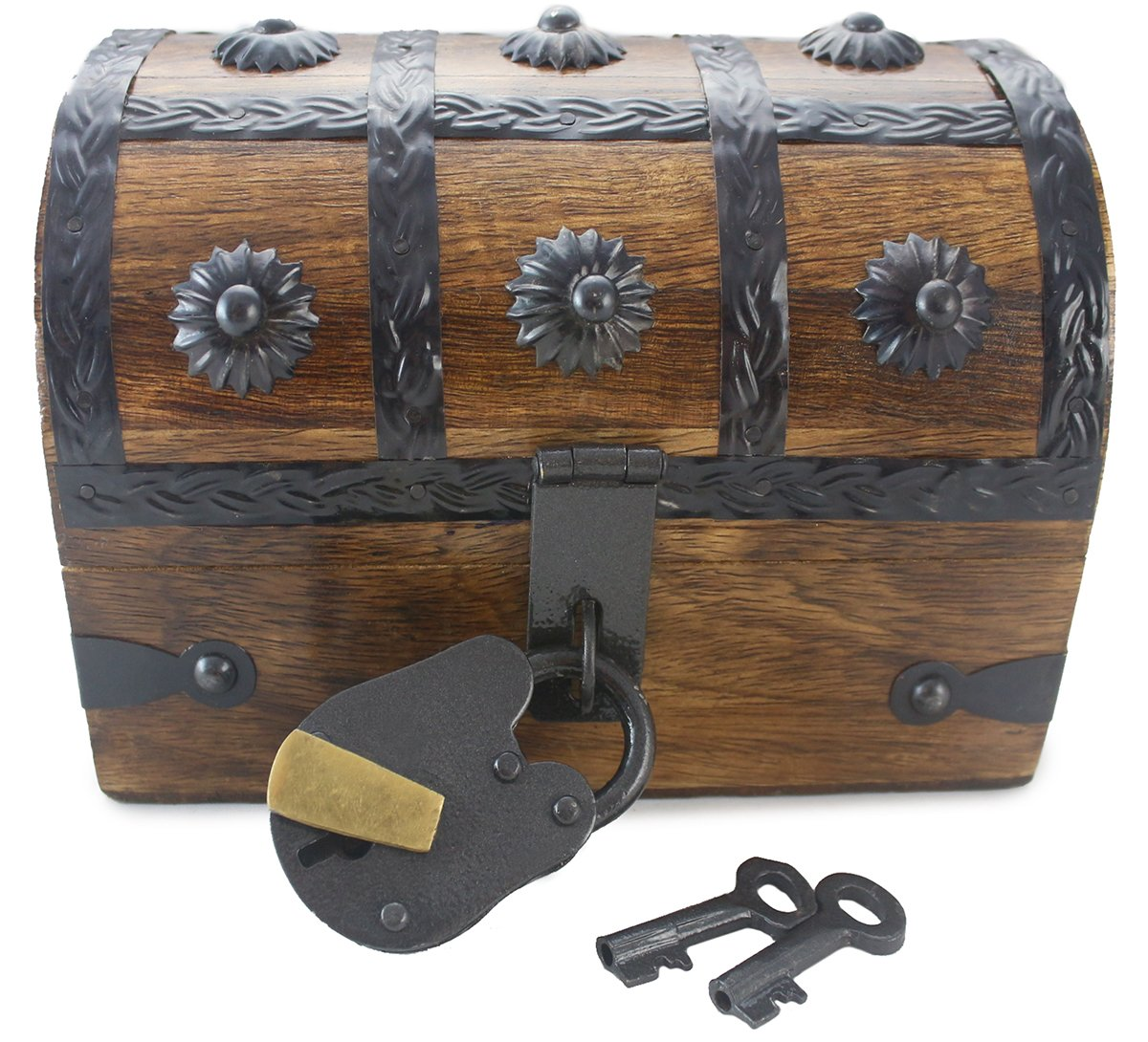 """Well Pack Box Treasure Chest Wooden Pirate Box 6.5"""" x 4.5"""" x 4.5"""" Nautical Locking Trunk Kids Toy Party Accessory or Decorative Box"""
