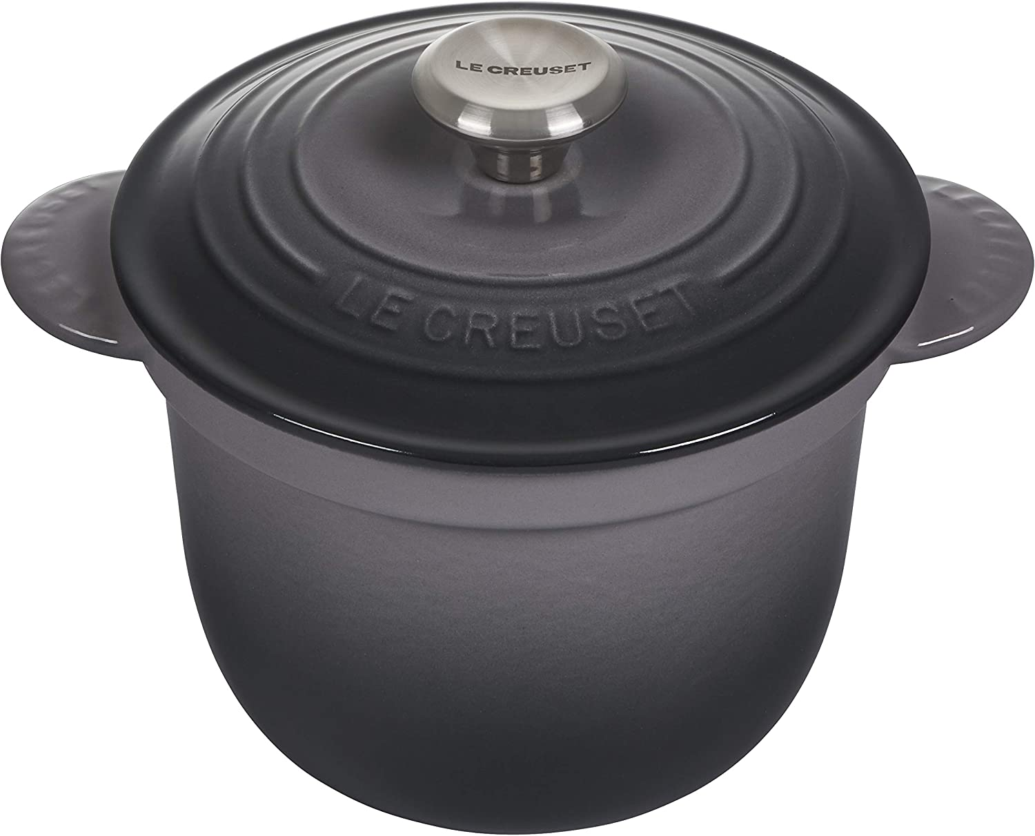 Le Creuset LS4101S-187FSS Enameled Cast Iron Rice Pot with Stoneware Insert, 2.25-Quart, Oyster