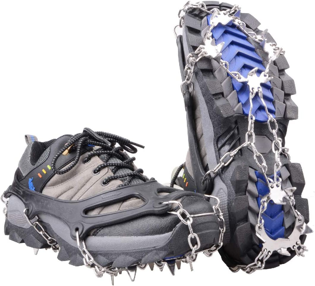 Portable M//L//XL Hike Ice Fishing Sizes Climb Limm Crampons Ice Traction Cleats Microspikes Grips Quickly /& Easily Over Footwear for Snow and Ice Walk