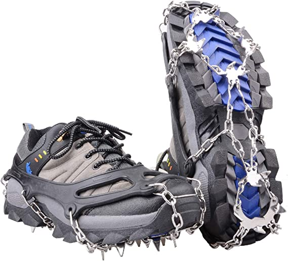 Climbing,Mountaineering Fnova Crampons Ice Cleats Traction Cleats Ice Snow Grips Crampons for Boots Shoes Crampons for Mens Womens Walking Hiking