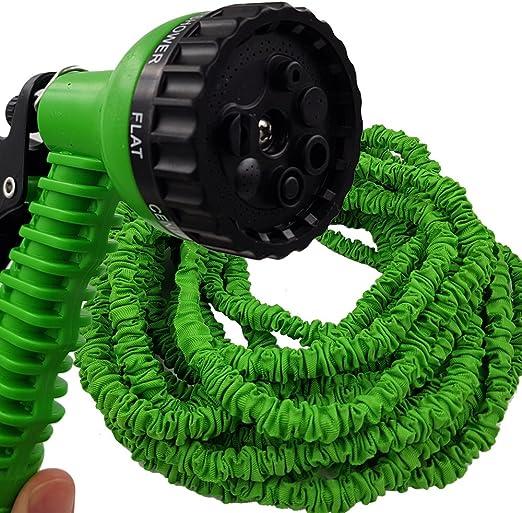 PROHEIM Manguera de jardín Extensible y Flexible 5-15 Metros de Color Verde - con Pistola 7 Funciones Olvídese de los retorcimientos!: Amazon.es: Jardín