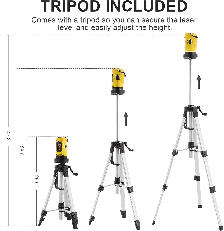 Kit de Laser Niveau Automatique Auto-Nivelant avec Tr/épied Valens Niveau Laser Rotatif Pr/écision /± 1 mm // 1 m avec Tr/épied Outil de Niveaux Laser