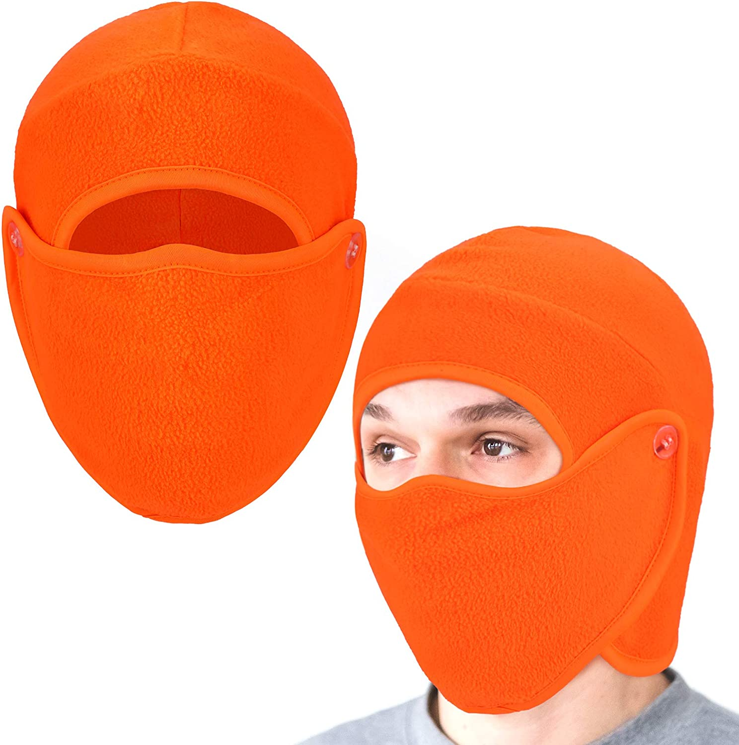Geyoga 2 Pieces 2 in 1 Men's Hat Balaclava with Face Covering Warm Winter Cold Weather Headgear for Men Women (Fluorescent Orange) at  Women's Clothing store