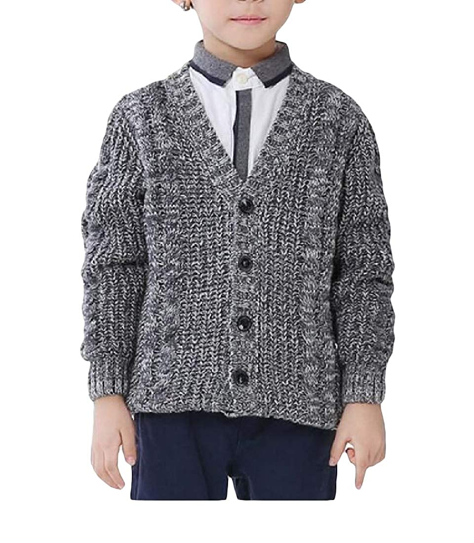 Hajotrawa Boys Knitted Warm Sweater Cute Thick Coat Cardigans