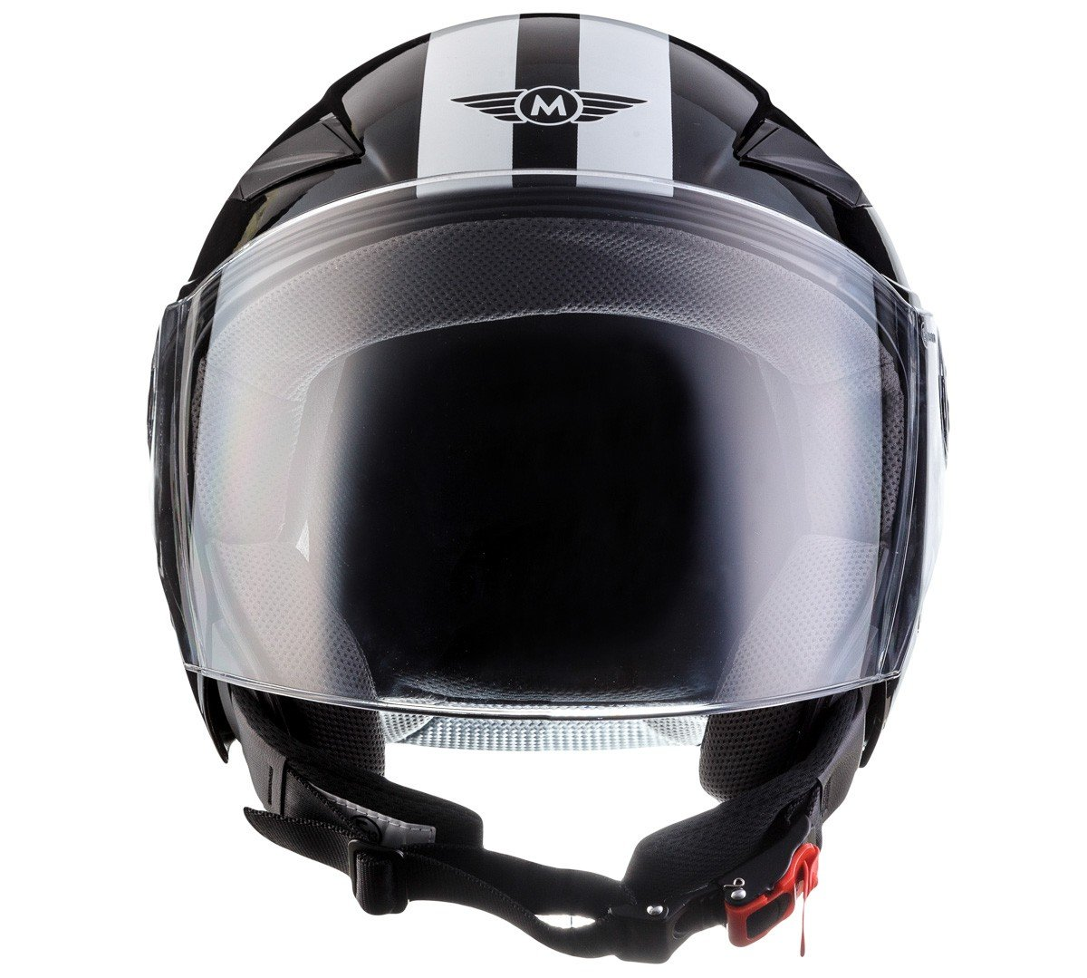 MOTO U52 Racing Red /· Biker Vespa Scooter Retro Urban Casco Demi-Jet Cruiser Helmet Moto motocicleta Urbano Vintage Piloto Bobber Chopper Mofa /· ECE certificado /· visera incluido /· incluyendo bolsa de casco /· Rojo /·