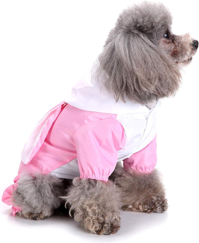 Costumi per Cuccioli Abbigliamento Estivo con Cappuccio Ranphy Poncho per Cani Giacca Impermeabile per Animali Domestici Cappotto Impermeabile per Cani di Piccola Taglia Tuta a Quattro Gambe