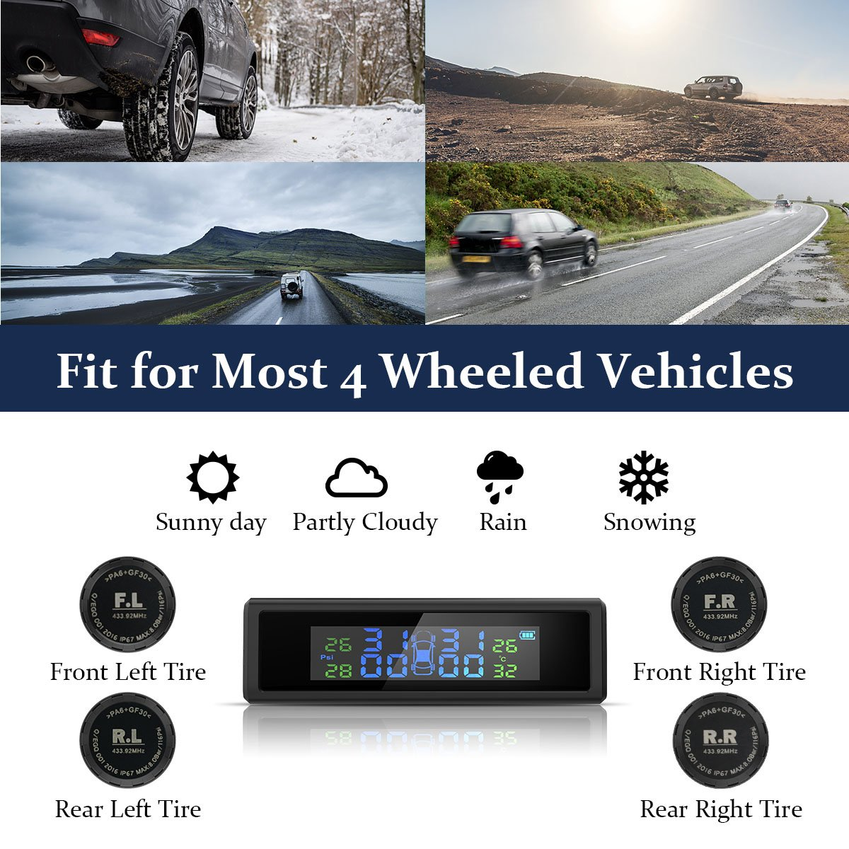 HiGoing Tire Pressure Monitoring System, Solar Wireless TPMS Built-in 450mAh Battery, 4 External Sensors (0-8.0 Bar/0-116 Psi, 49-85℉/65-85℃), 6 Alarms Real-time High Monitor Temperature & Pressure by HiGoing (Image #5)