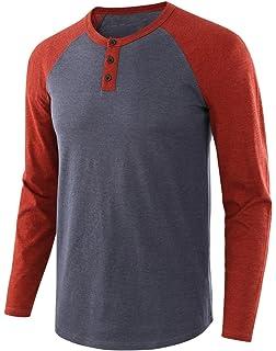 Daxvens Camisa Casual Henley para Hombre De Camiseta De Color Puro con Cuello Redondo Liso: Amazon.es: Ropa y accesorios