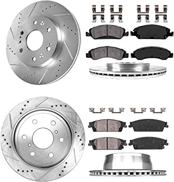 For Silverado Tahoe Yukon Escalade Sierra Front Brake Calipers And Rotors /& Pads