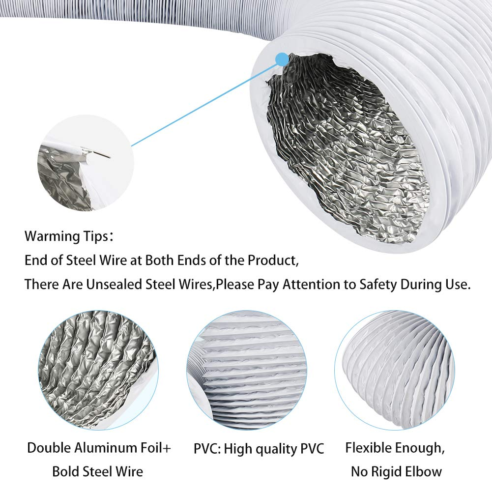 4 Inch 16FT Air Duct,Insulation Aluminum Clothing Dryer Hose,Black PVC Lightproof Vent Hose for Fan Filter and Grow Tent 2 Clamps Include