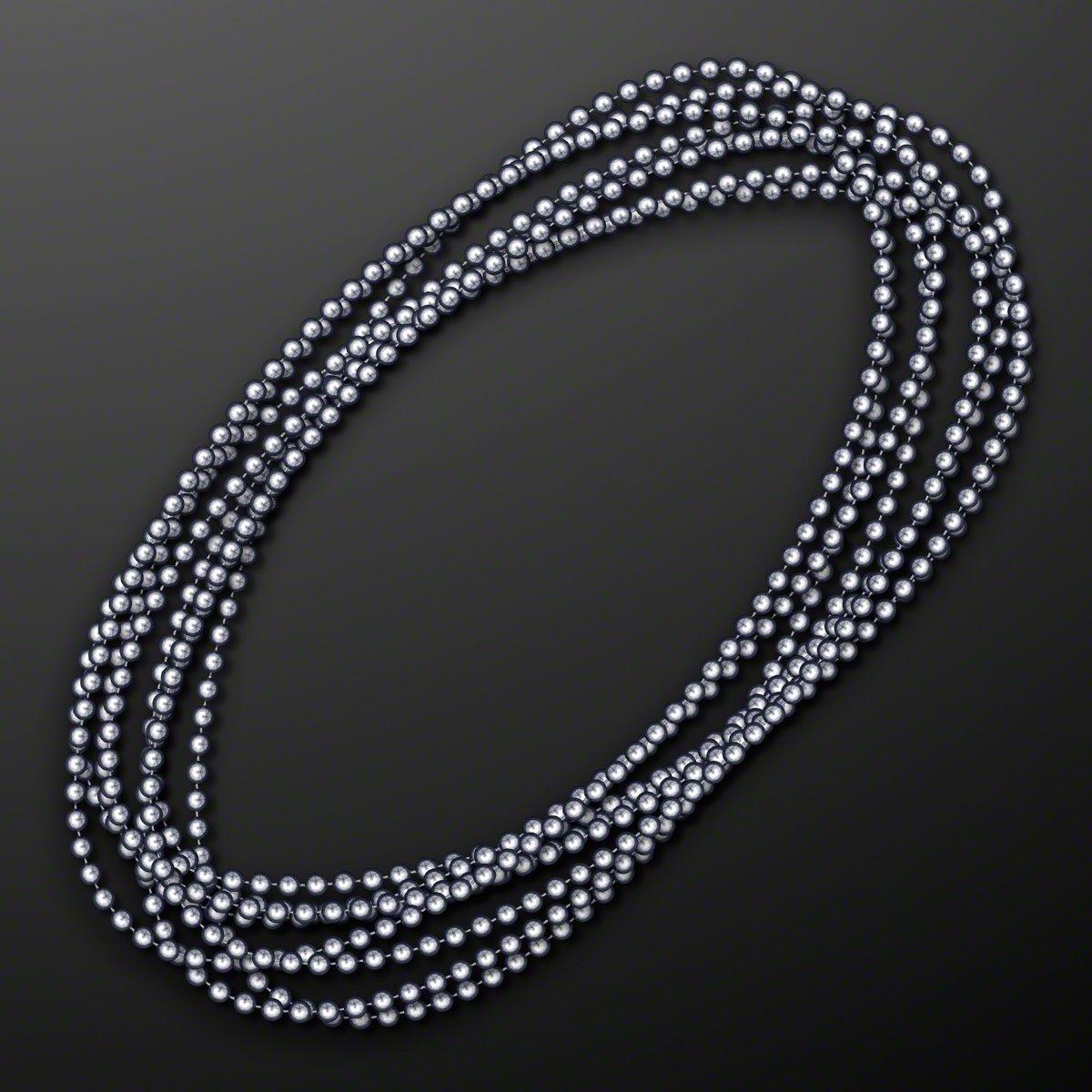 FlashingBlinkyLights Silver Round Ball Mardi Gras Bead Necklaces (Set of 144)