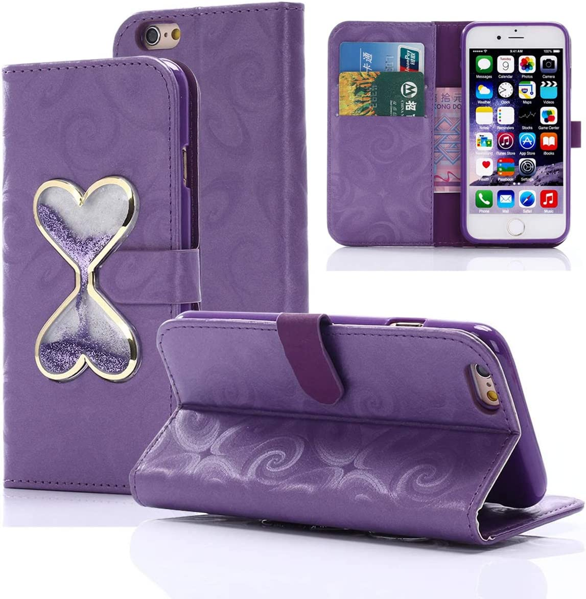 Gift_Source iPhone 5S Case,iPhone SE Case, Wallet Flip Case Bling Glitter Floating Linquid Hourglasses Love Heart Design PU Leather Kickstand Card Slots Cover for iPhone SE/5/5s [Purple]
