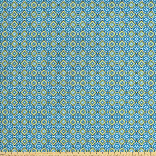 Lunarable Yellow and Blue Fabric by The Yard, Hand Drawn Abstract Ornament Rhombus Shapes Artistic Mosaic Vintage, Decorative Fabric for Upholstery and Home Accents, 1 Yard, Blue Aqua - Fabric Vintage Upholstery