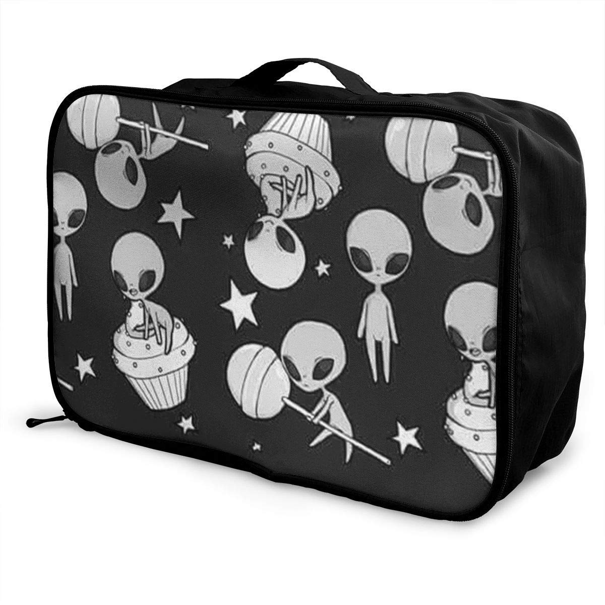 Portable Luggage Duffel Bag Funny Alien Pattern Travel Bags Carry-on In Trolley Handle