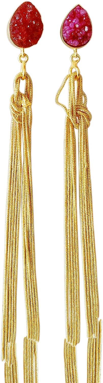 Pendientes largos chapados en oro de 18 quilates con piedra drusa roja para novia