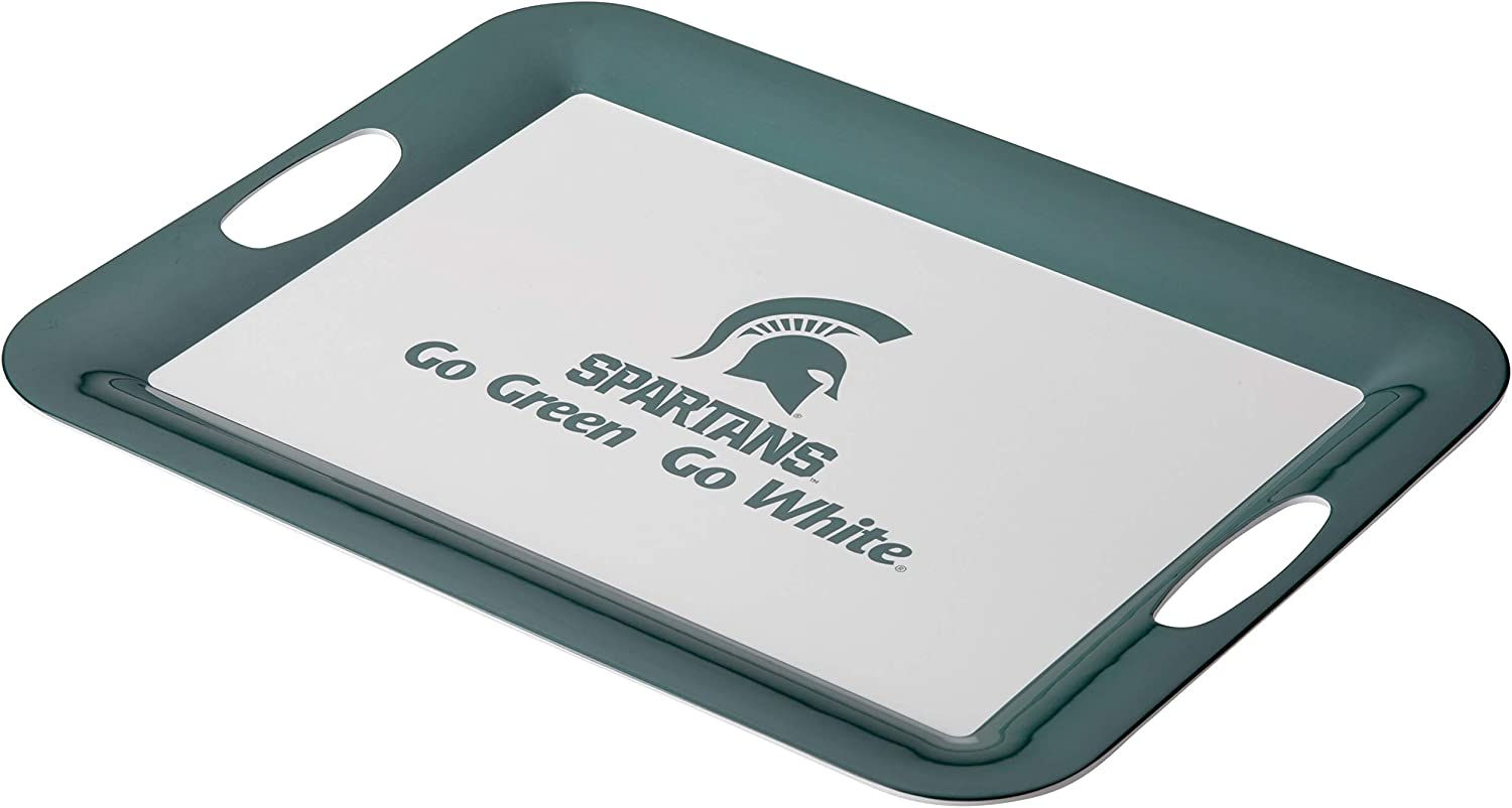 College Kitchen Collection Michigan State Serving Tray / Party Platter / Food Appetizer Serveware - 12.5 Inch, White