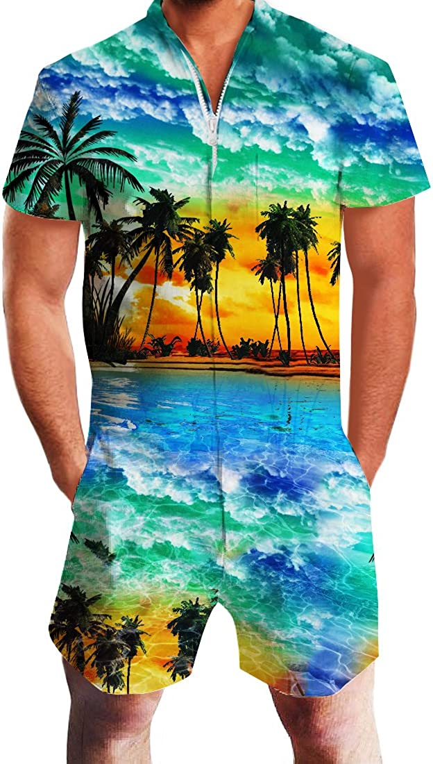 Adicreat Men Summer Shorts 3D Printed Short Sleeve Jumpsuit One Piece Romper Outfits