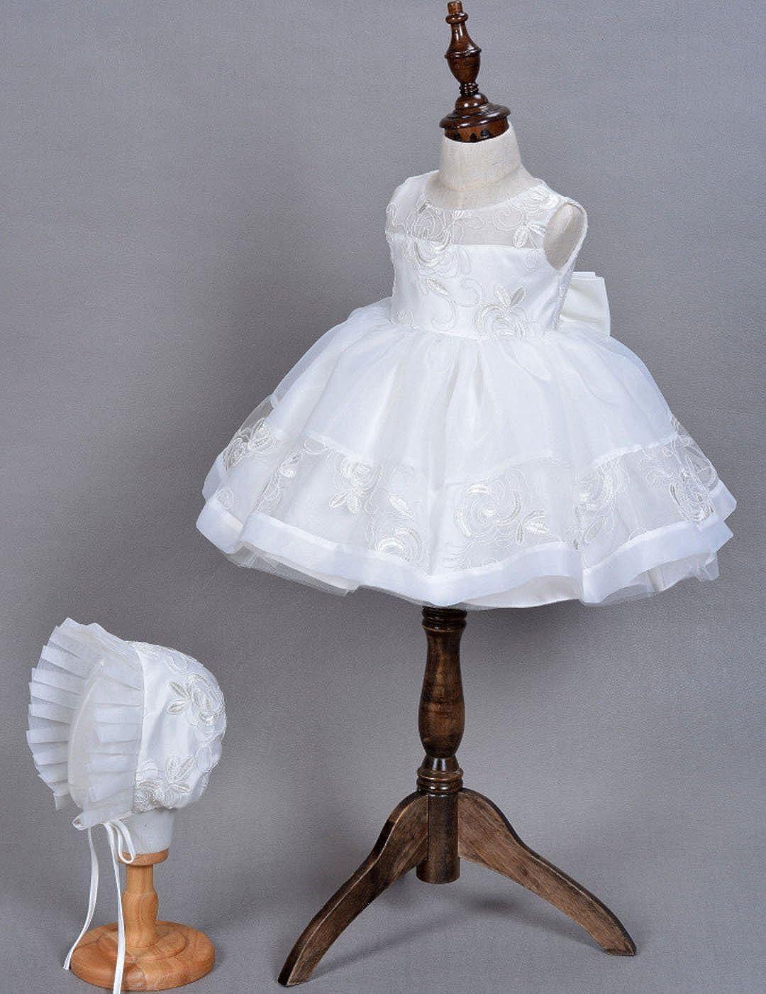 Wei/ß Happy Cherry Baby Taufkleid Geschenk Set f/ür Babym/ädchen Kleid /& M/ütze f/ür die K/örpergr/ö/ße 56-90cm 0-24 Monate