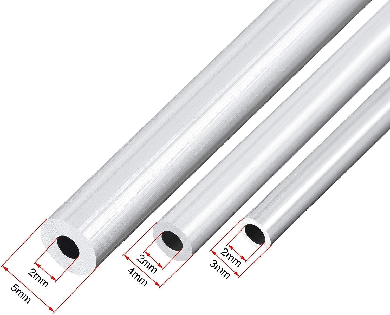 DyniLao 6063 Tubo de aluminio paquete de 3 3 mm 4 mm 5 mm OD x 2 mm de di/ámetro interior 300 mm de longitud Tubo redondo sin costura