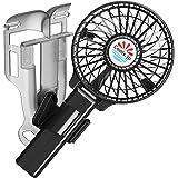 えりかけ扇風機 BodyFan(服の中へ送風可能)冷却タオル首かけ/手持ち/日傘/ヘルメット/ベビーカー兼用 USB充電池式 携帯扇風機 (4インチファン, 黒)