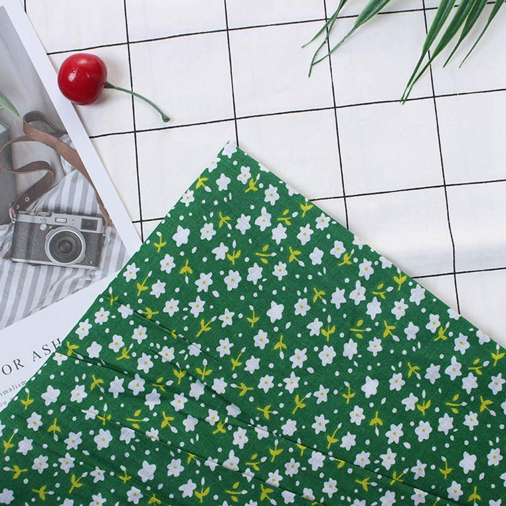 Yencoly Pre-Cut Cotton Fabric Bedding 25 * 25cm 7pcs 25 25cm Cotton Fabric DIY Assorted Squares Pre-Cut Bedding Kit Quarters Bundle Dark Green lining for bed DIY Assorted Cotton Fabric