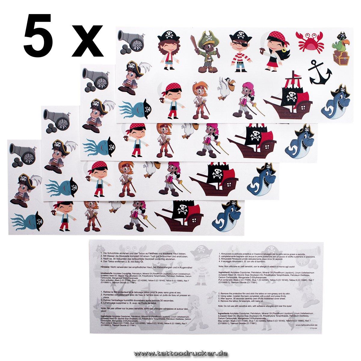 5 x Children Pirates Tattoo Card - 80 Priates temporary tattoos for chidlren