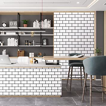 Caltero Black White Brick Contact Paper 17 7 X 78 7 White Trellis Wallpaper Peel And Stick Subway Tile Effect Brick Wallpaper Waterproof Backsplash Paper Countertop Bathroom Bedroom
