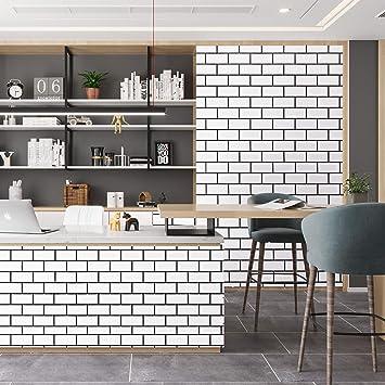 caltero black white brick contact paper 17 7 x 78 7 white trellis wallpaper peel and stick subway tile effect brick wallpaper waterproof backsplash