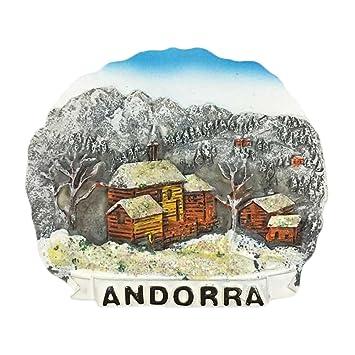 """Andorra - Imán para nevera en 3D, diseño con texto en inglés""""Souvenirs"""""""