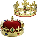 Adjustable Gold Crown and a Red Jeweld Crown By Funny Party Hats®