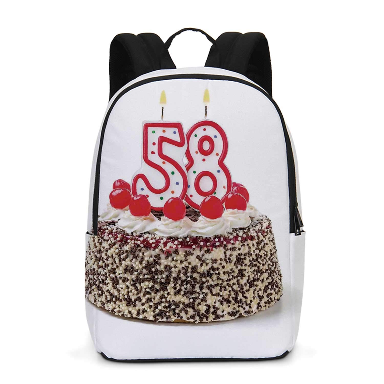 58th Birthday Decorations Durable Backpack,Birthday Cake with Cherries and Yummy Effects Sweet Age Picture for School Travel,One_Size