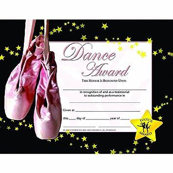 amazon com dance award certificate glossy paper quantity 150