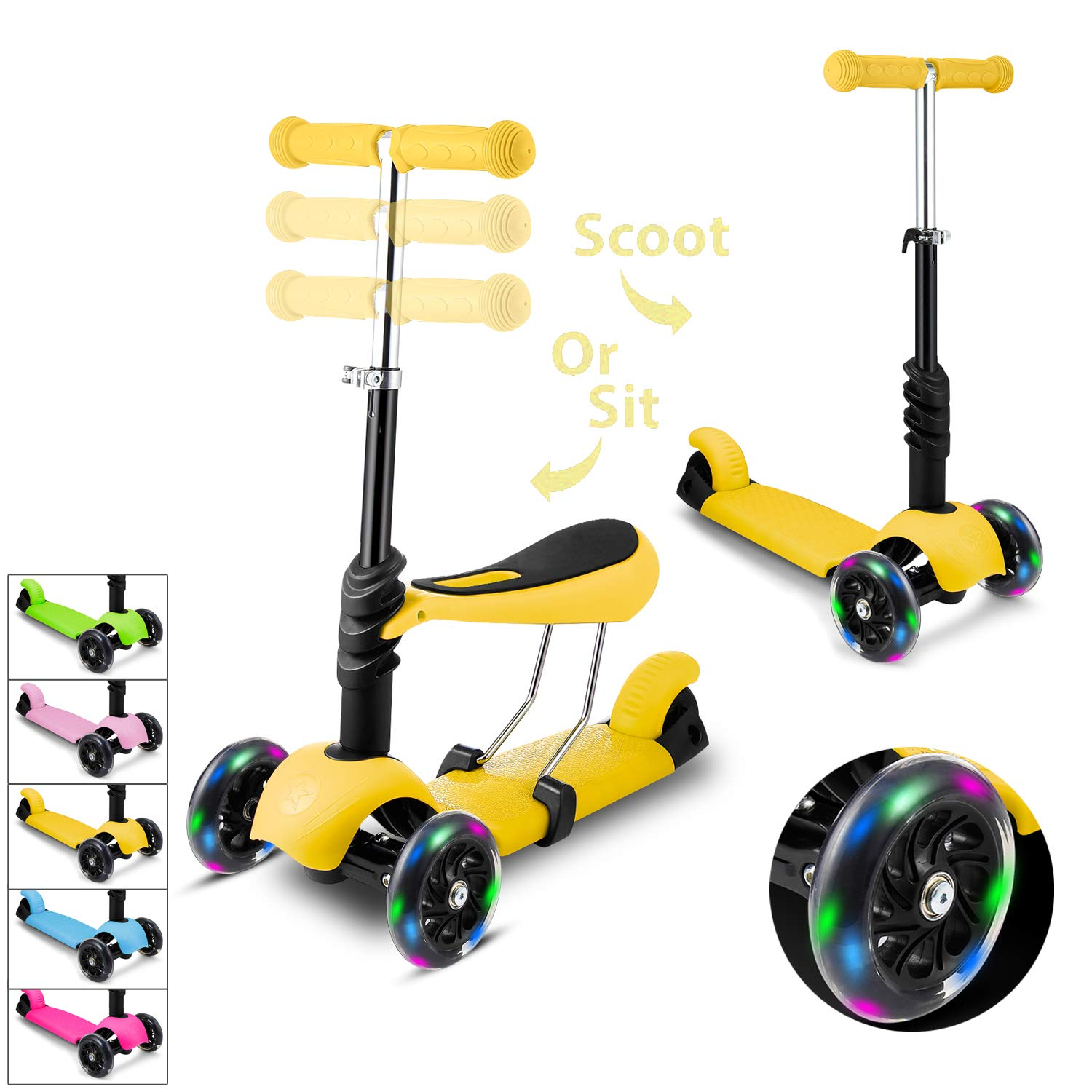 WeSkate Kids Scooters with Seat 3 Wheel Kick Scooter Adjustable Height Removable Adjustable Seat, T-Handlebar and LED Light Up Wheel for Children Boys Girls 2-8Years Old by WeSkate