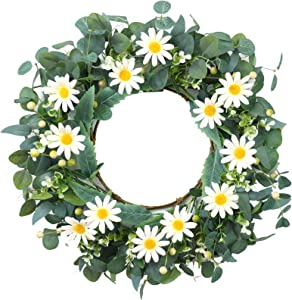 Artificial White Daisy Wreath,Floral Wreath with Green Eucalyptus Leaves Spring and Summer Wreath for Front Door Wall Window Decor-20in