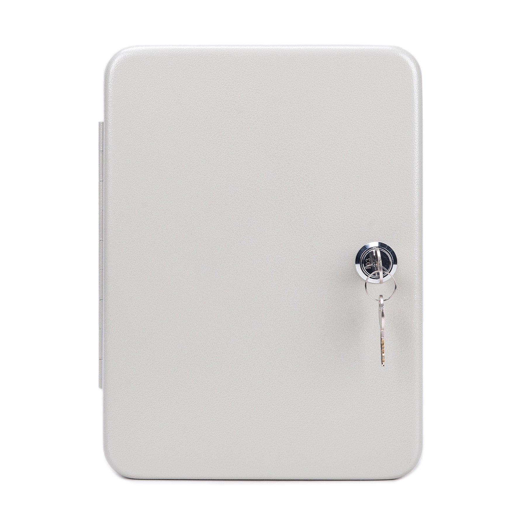 CO-Z Carbon Steel Key Cabinet Storage Box Organizer for Keys with Mechanical Lock 2 keys (white for 48 keys)
