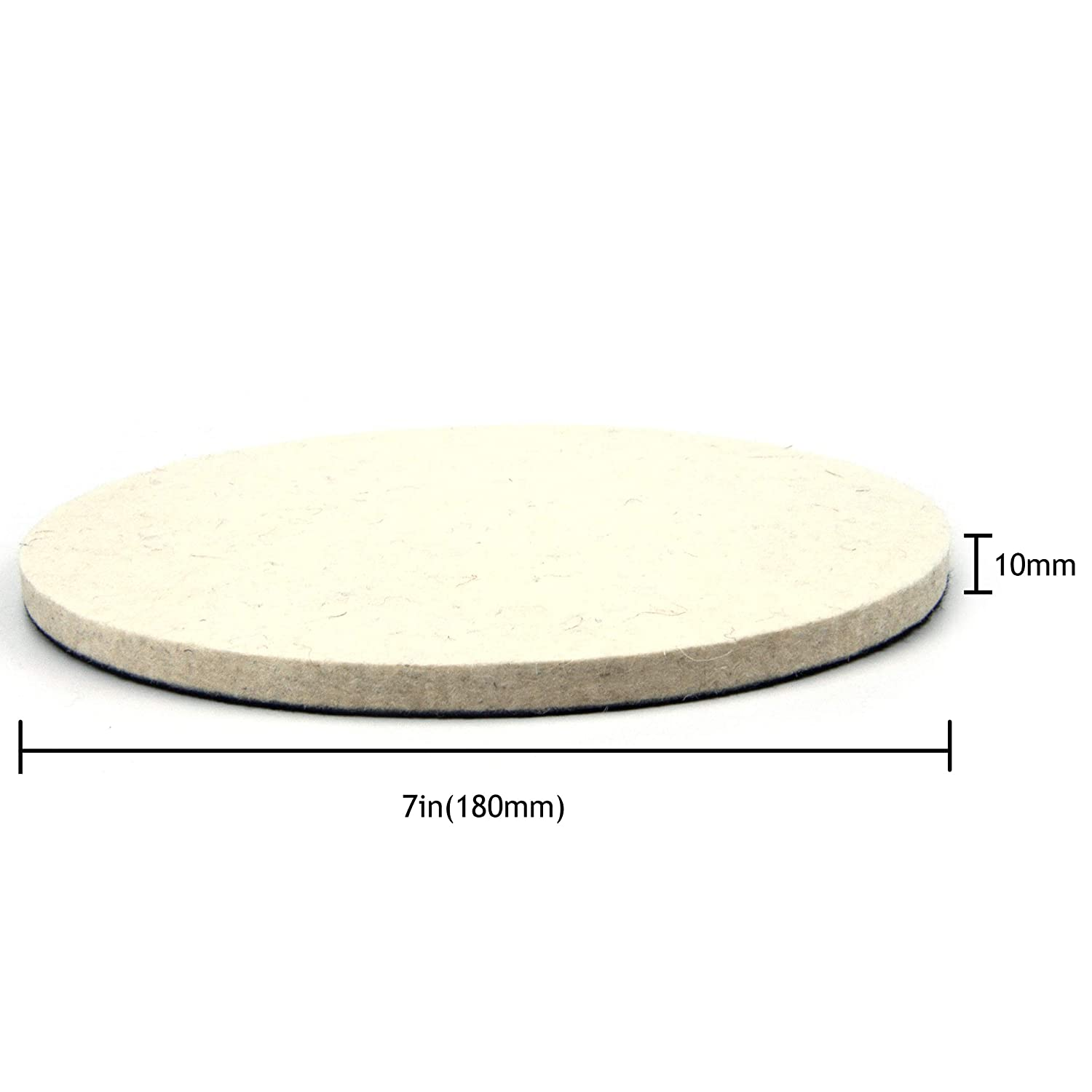 Hook and Loop Compressed Wool Polishing Wheel Buffing Pads for Wax Sanding Discs 2 Inch Pack of 5 50mm