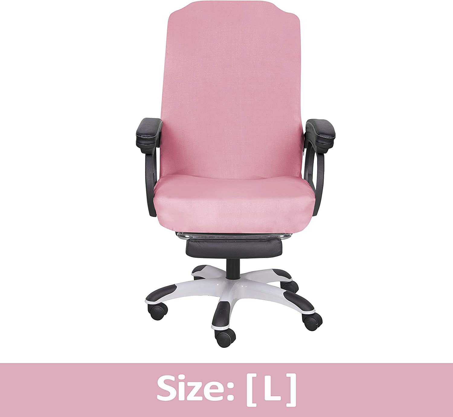 SARAFLORA Pink Office Chair Covers Stretch Washable Computer Chair Slipcovers for Universal Rotating Boss Chair Large Size
