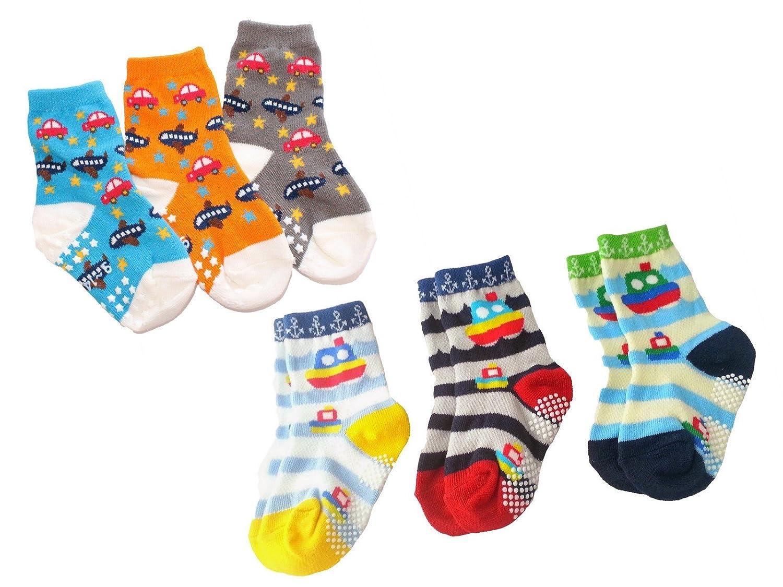 Baby Boy Pack of 6 Ankle Calf Socks Anti-slip CARS STRIPED BEAR SAILOR Theme
