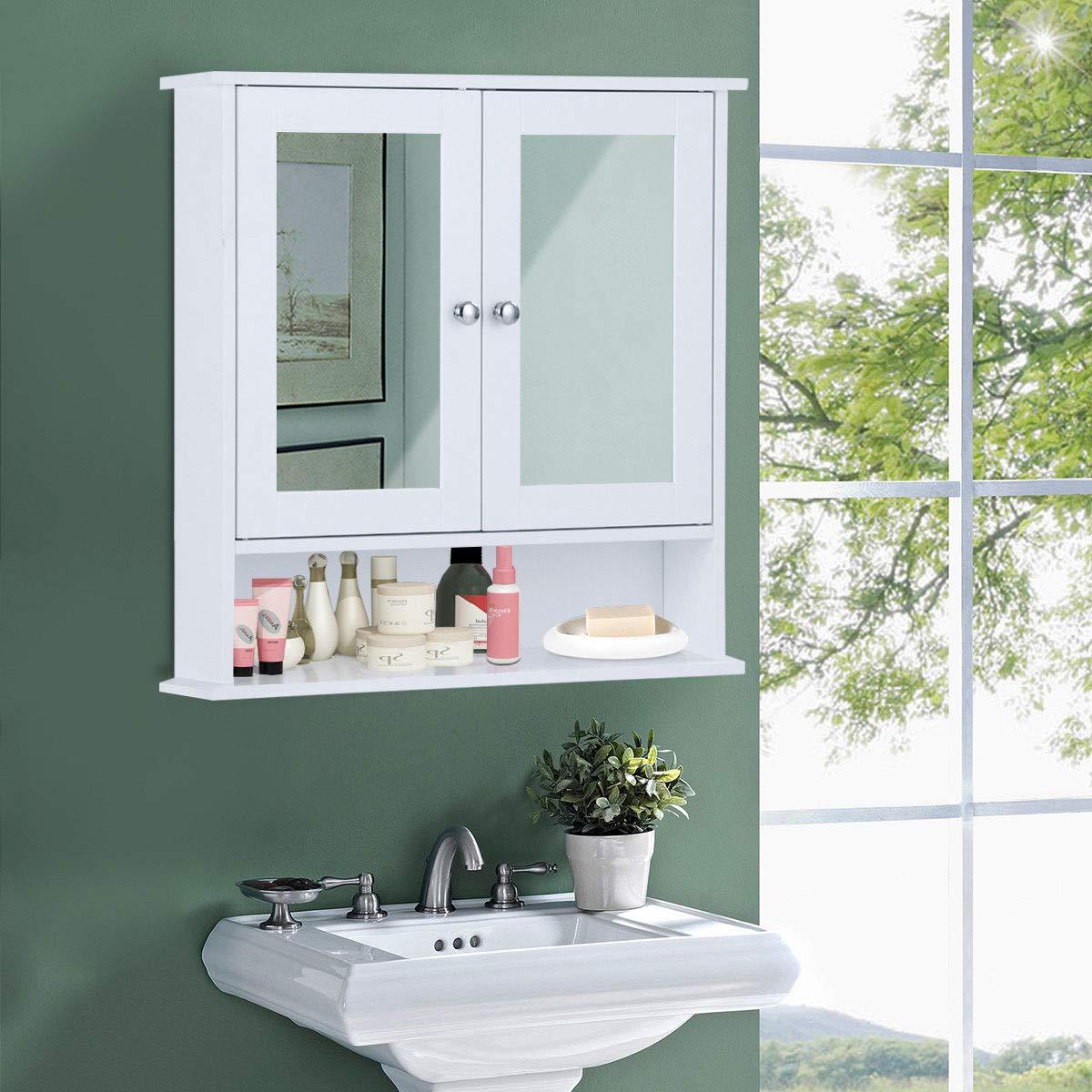 Costway Armadietto a Specchio Mobile a Parete da Bagno, Pensile a Muro, Bianco, 56 x 13 x 58 cm