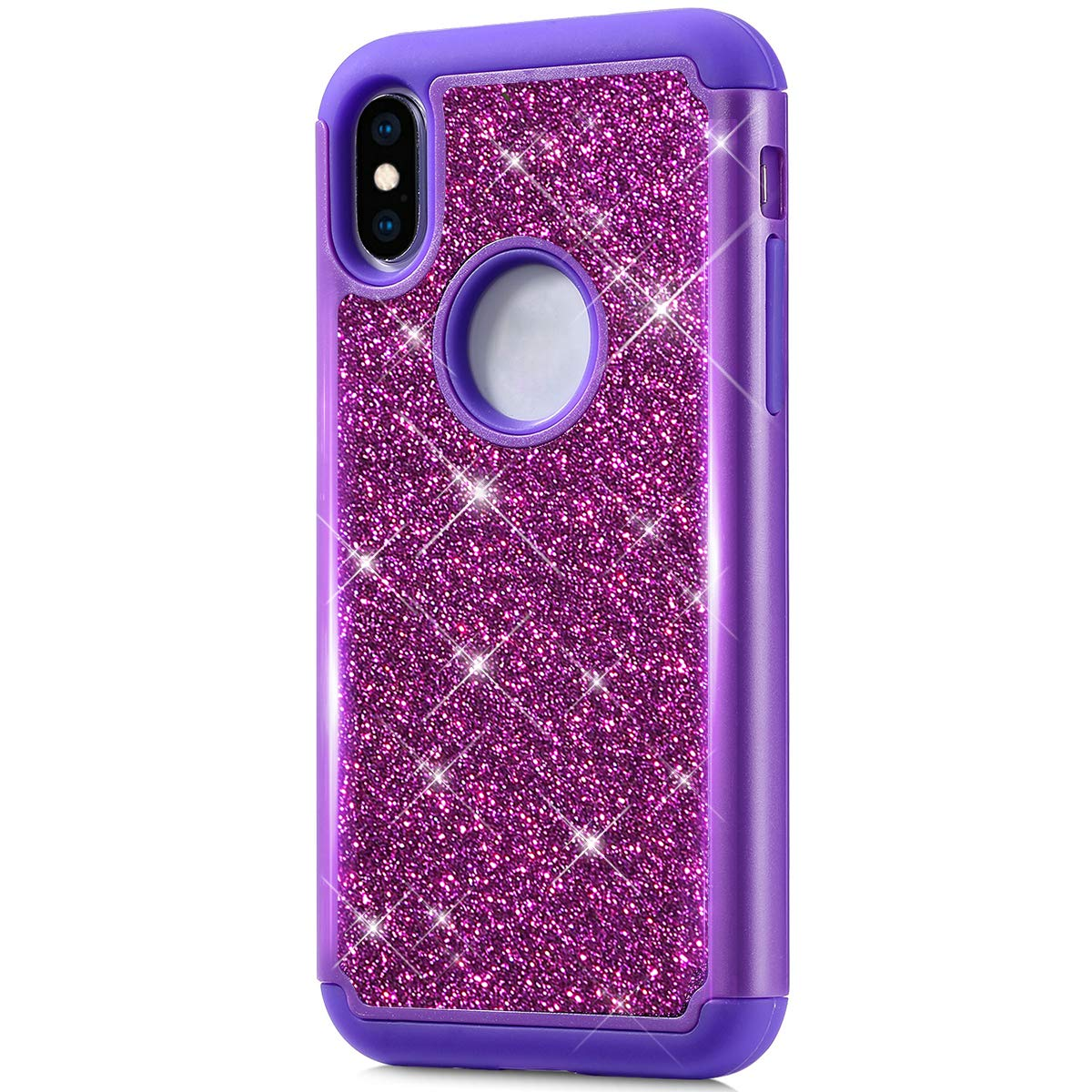 ikasus Case for iPhone XS/X Bling Case,Glitter Sparkle Bling Full-Body Protection Heavy Duty Hybrid Shockproof Defender Hard Shell Silicone Rubber TPU Cover Case for iPhone XS/X Cover,Purple by ikasus