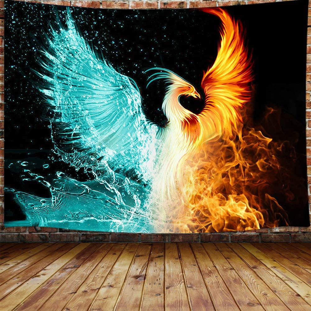 Fantasy Phoenix Small Tapestry, Water Ice and Fire Rising Phoenix Animal Anime Tapestry Wall Hanging for Bedroom, Aesthetic Tapestry for Men Beach Blanket College Dorm Home Decor (60W X 40H)