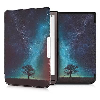 kwmobile Case for Pocketbook InkPad 3 - Book Style PU Leather Protective  e-Reader Cover Folio Case - Blue/Grey/Black