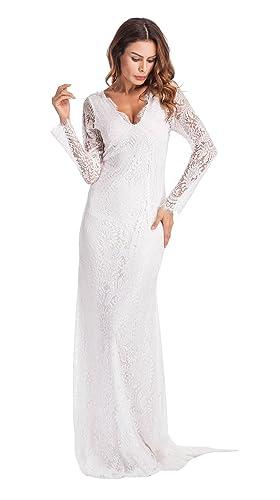 Yomoko Women's Sexy Deep V Neck Lace Evening Dress Long Sleeve Wedding Prom Ball Gown