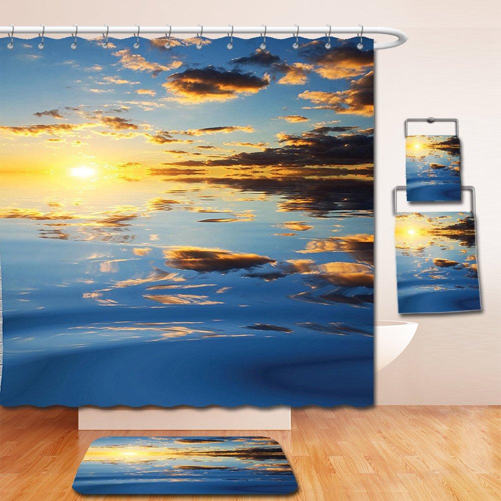 Nalahome Bath Suit: Showercurtain Bathrug Bathtowel Handtowel Mystic House Decor Last Sunlights Of The Day Scenery Romantic Dreamy Tropical Vacation Yellow Blue
