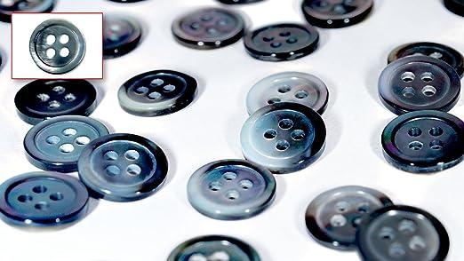 De madreperla Blusa (Natural, Color Azul y Gris), Camisa/Blusa Botones (Juego de 15 piezas) Ø11.5 mm 4 agujeros (Negro Borde fregona): Amazon.es: Hogar
