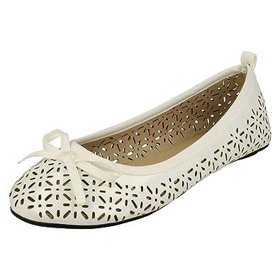 3e07b54cb7fe Spot On Girls Flat Ballerina Style Shoes - White Synthetic - UK Size 9 - EU