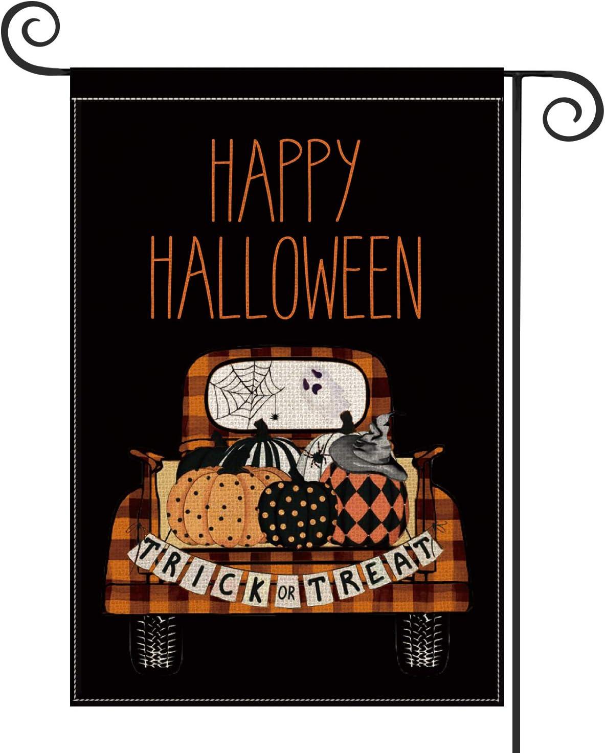 AVOIN Happy Halloween Truck Polka Dot Pumpkin Garden Flag Vertical Double Sized, Trick or Treat Spider Web Witch Hat Yard Outdoor Decoration 12.5 x 18 Inch