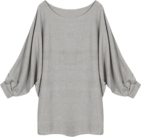StyleDome Womens Batwing Sleeve Chunky Knitted Oversized Sweater Pullover Jumper Blouse T Shirt Tops