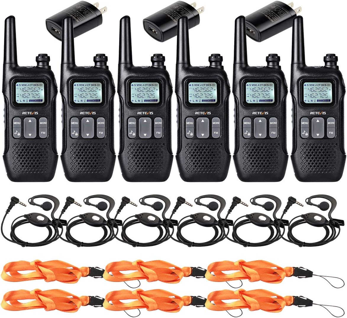 Retevis RT16 Walkie Talkie for Adult Long Range Two Way Radio NOAA Emergency Dual Watch Flashlight FM USB VOX 2 Way Radio with Earpiece 6 Pack