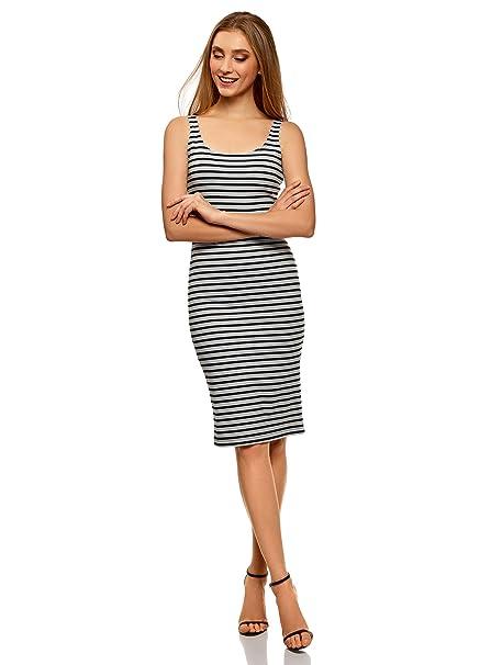 oodji Ultra Mujer Vestido-Camiseta de Tirantes de Punto, Gris, ES 34 /